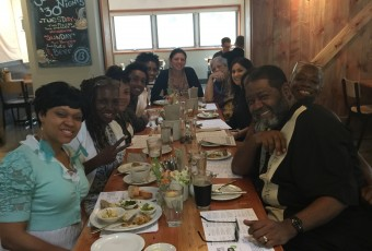 Enjoying a well-deserved delicious (and healthy) meal with advisory committee members and participants after the food equity meeting in Minneapolis.